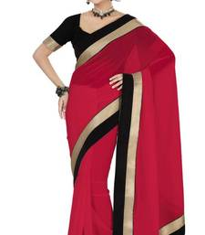 Buy New Carrot Red Color Faux Georgette Party Wear Saree with Blouse georgette-saree online