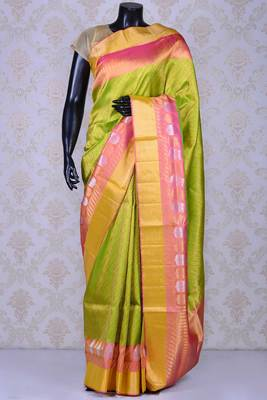 6a7bc378b5 Chartreuse green and dull gold zari weaved silk saree with blouse - mirraw  test - 1678109
