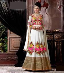 Buy White  Georgette + Banglory Silk semi stitched salwar with dupatta silk-georgette-salwar online