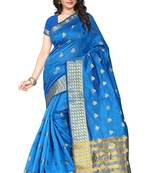 Buy Firozi  embroidery silk saree with blouse