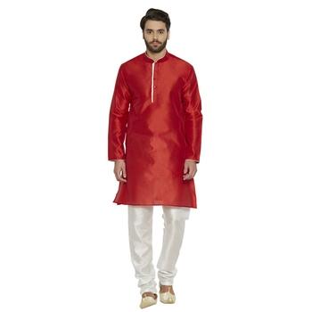 irin Designer Ethnic Blended Silk Red Solid Kurta And White Churidar For Men