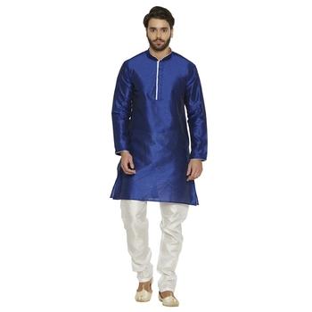 irin Ethnic Blended Silk Royal Blue Solid Kurta And White Churidar For Men