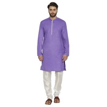 irin Designer Ethnic Poly Cotton Purple Solid Kurta And White Churidar For Men