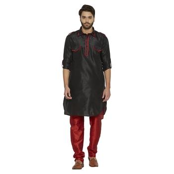Irin Ethnic Blended Silk Solid Black Pathani Kurta And Maroon Churidar For Men