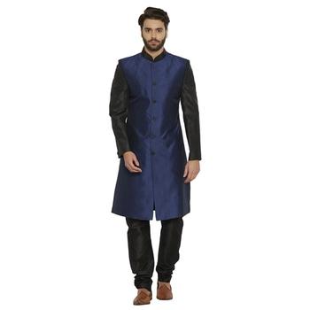 Irin Designer Ethnic Blended Silk Blue And Black Indo-Western Sherwani For Men