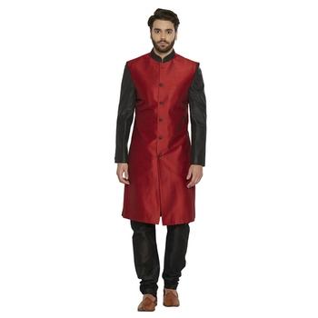 Irin Designer Ethnic Blended Silk Red And Black Indo-Western Sherwani For Men