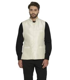 irin Designer Ethnic Blended Silk Cream Solid Koti (Waistcoat) For Men