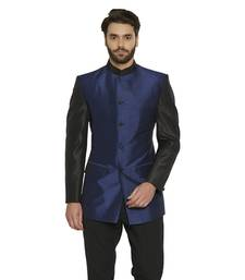 Irin Ethnic Blended Silk Blue Indo-Western Bandgala (Indian Coat)  For Men