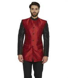 Buy irin Ethnic Blended Silk Red Indo-Western Bandgala (Indian Coat)  For Men gifts-for-brother online