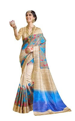 Cream printed bhagalpuri silk saree with blouse