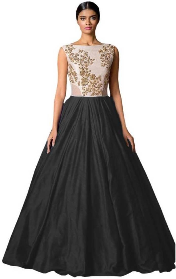 Buy Black embroidered semi stitiched party wear gowns Online