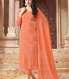 Buy Dark peach embroidered chiffon semi stitched salwar with dupatta salwars-and-churidar online