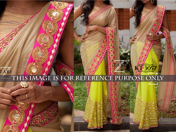 Beige and green Silk georgette saree
