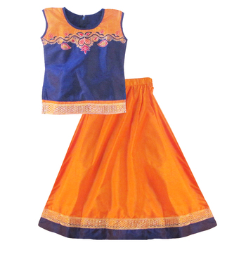 Orange Poly Silk readymade lehenga cholis