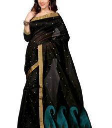 Buy Black plain tissue saree with blouse black-friday-deal-sale online