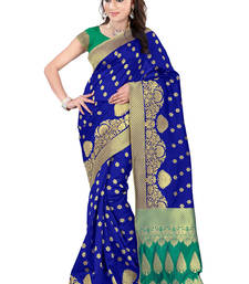 Buy Blue plain banarasi saree with blouse traditional-saree online