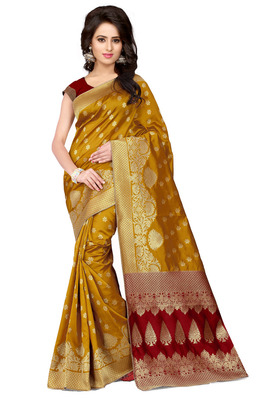 Light mustard plain banarasi silk saree with blouse