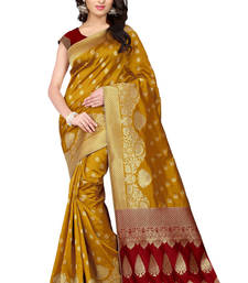 Buy Light mustard plain banarasi silk saree with blouse banarasi-silk-saree online