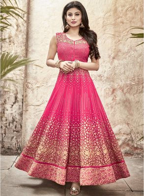Pink embroidered georgette semi stitched salwar with dupatta (Free Size)