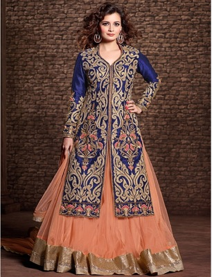 Online latest Partywear Blue embroidered semi-stitched salwar with dupatta (Free Size Dress)