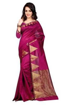 Majenta plain chanderi saree with blouse