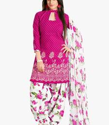 Buy Pink Printed Cotton unstitched salwar with dupatta multicolor-salwar-kameez online