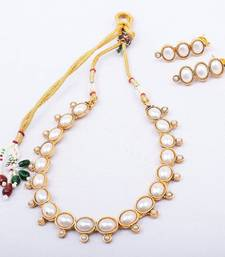 Buy White Oval Stone Studded Necklace necklace-set online