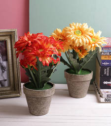 Buy Set of 2 Beautiful Red & Yellow 29.5 CM High Artificial Floral Plants flower-arrangement online