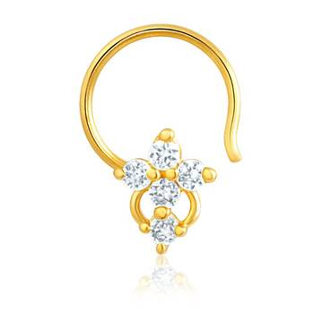 Mahi Gold Plated Nose Pin with CZ for Women NR1100129G