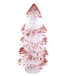 Cute White with Maroon Spread Decorative Christmas Tree. Shop Now