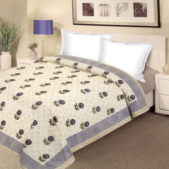 Cream Bloom Pure Cotton Double Duvet Cover