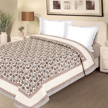 Pure Cotton Double Duvet Cover With Floral Motifs