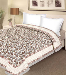 Buy Pure Cotton Double Duvet Cover with floral motifs duvet-cover online