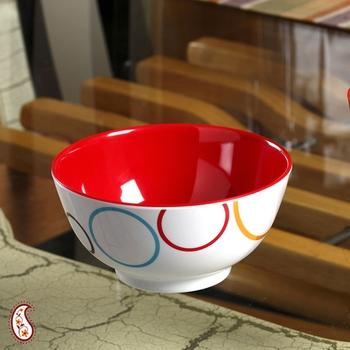 Red And White Circle Print Melamine Bowl