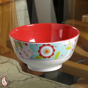 Watercolor Floral Print Melamine Bowl