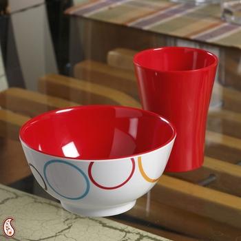 Red And White Circle Print Melamine Tumbler Set