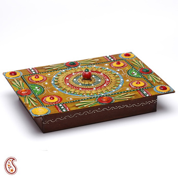 Wood And Clay Handmade Traditional Jewelry Cum Utility Box
