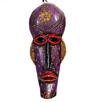 Wooden Crafted Tribal Mask In Purple