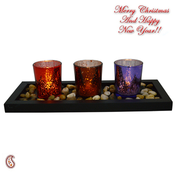 Multicolor Textured Tealight Holders With Tray