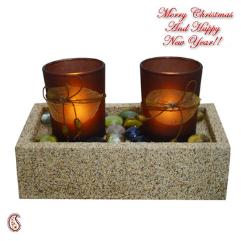2 Brown Tealight Holders With Charming Tray
