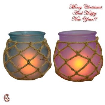 Purple & Blue 2 Pot Shape Tealight Holders