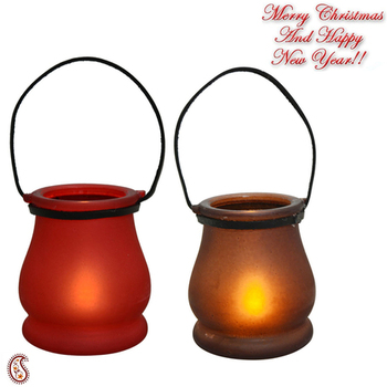Red & Brown 2 Lantern Style Tealight Holder