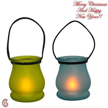 Green & Blue 2 Lantern Style Tealight Holders