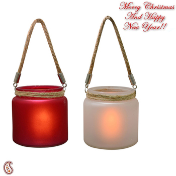 Red & White 2 Hanging Bucket Style Tealight Holders