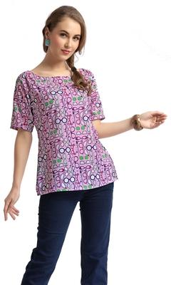 women's multicolor digital print crepe top