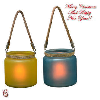 Yellow & Blue 2 Hanging Bucket Style Tealight Holders