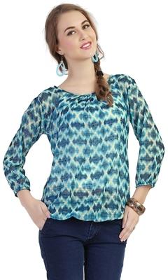 women's multicolor digital print chiffon butti top