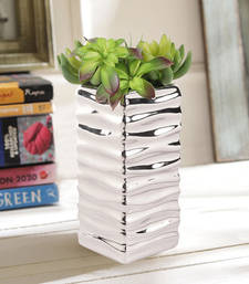 Contemporary Patterned Silver Cylinderical Pot