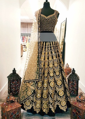 Black georgette embroidered Lehenga Choli