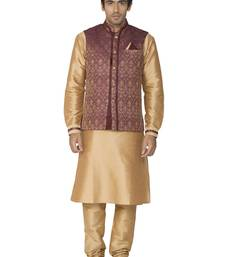 Buy beige dupion silk kurta pajama men-festive-wear online